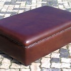 Leather Ottoman with Strip Studs