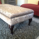 Ottoman upholstered in fabric from Hertex